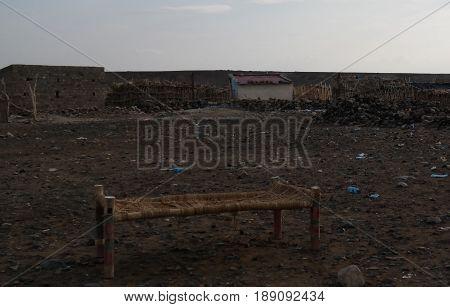 Camp site near the shore of Salt Lake Karum aka Lake Assale or Asale in Danakil Afar, Ethiopia