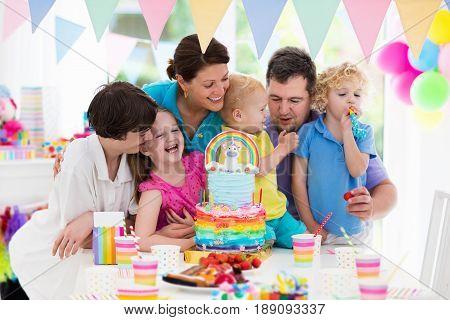Kids Birthday Party. Family Celebration With Cake.