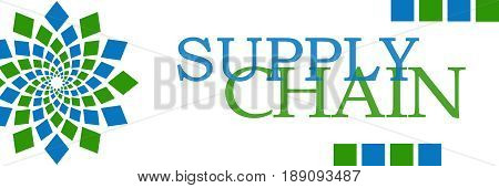 Supply chain text written over green blue background.