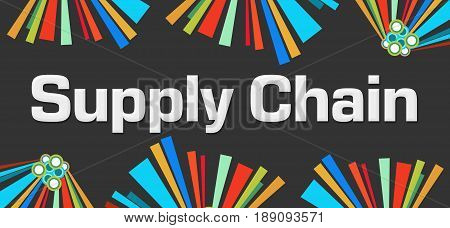 Supply chain text written over dark colorful background.
