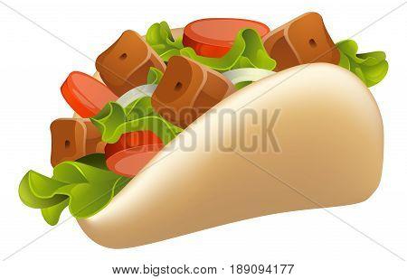 An illustration of a healthy looking cartoon souvlaki kebab