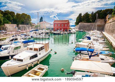 small Fosa bay in Zadar with boats and yachts Croatia