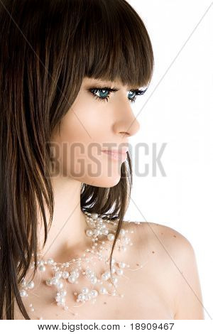 Close-up portrait of a beautiful brunette woman