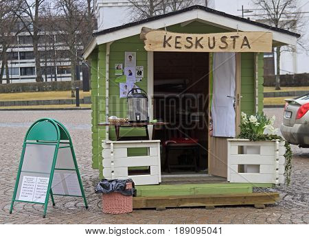 One Of Agitation Kiosks On Central Square In Hameenlinna, Finland