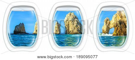 Three porthole frame windows on Los Arcos rock formation at Lands End in Cabo San Lucas, Baja California Sur, Mexico.