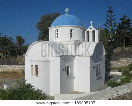 Small church in Krotiri bay, near Parikia, Paros island, Cyclades, Greece