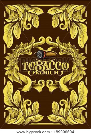 Premium Luxury Menu Cover List Frame Tobacco Cuban Cigar Label