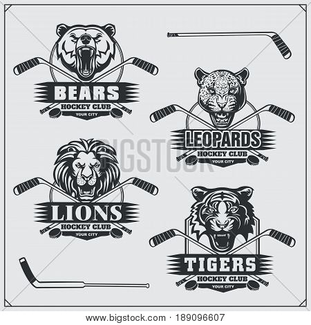 Hockey badges, labels and design elements. Sport club emblems with bear, lion, tiger and leopard.