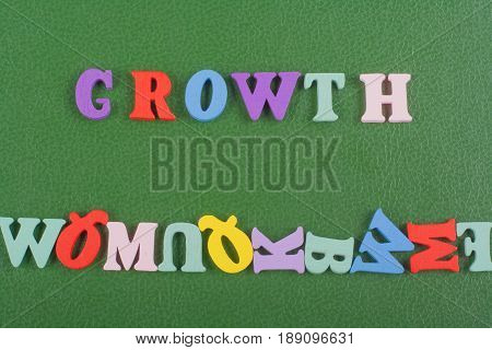 word on green background composed from colorful abc alphabet block wooden letters, copy space for ad text. Learning english concept