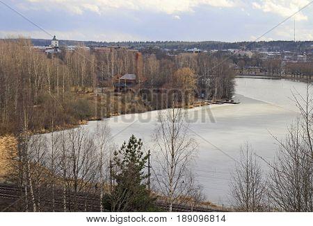 lakeside of lake Vanajavesi in Hameenlinna, Finland