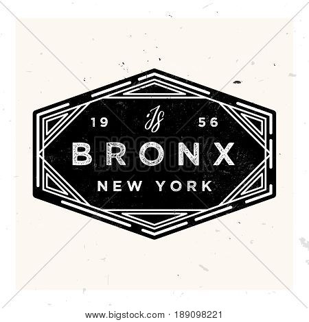 Bronx New York Apparel LAbel Design, Vector Illustration in Vintage Style 1920s