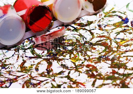 Abstraction Of Gouache, Colored Photo, Beautiful Art