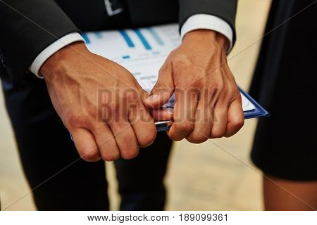 Document on clipboard for business controlling in consulting agency