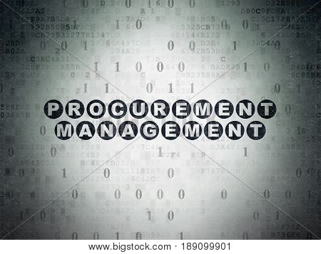 Finance concept: Painted black text Procurement Management on Digital Data Paper background with Binary Code