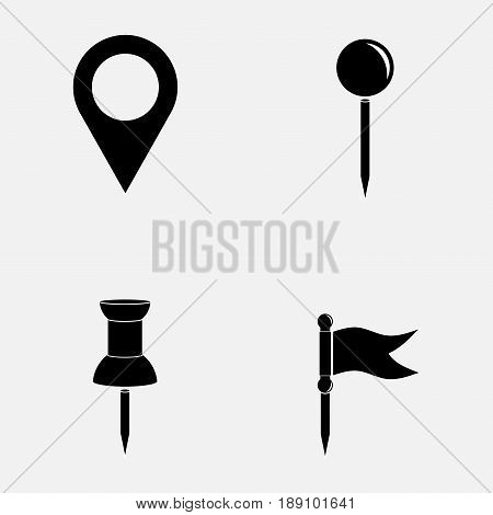 indices icons on the map indicate places fully editable vector image