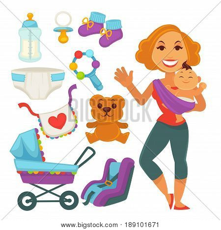 Mother holding newborn child in hands. Young woman with infant son or daughter, kid accessories of baby carriage, diaper, toys and nipple bottle. Motherhood concept vector flat illustration