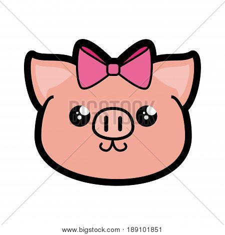 Pig kawaii cartoon icon vector illustration graphic design