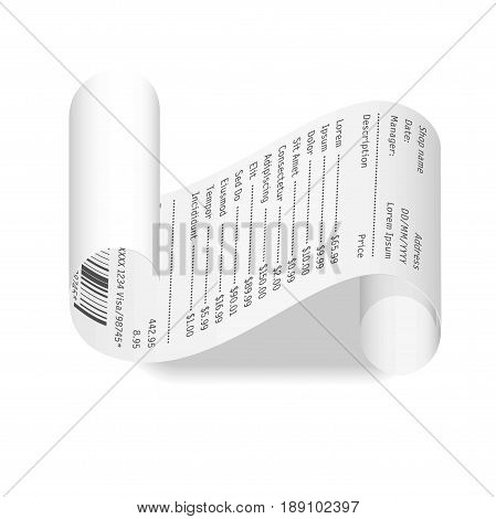 Receipt or cash payment check curled on edges with price list from shop or store. Vector realistic 3D isolated icon with shadow