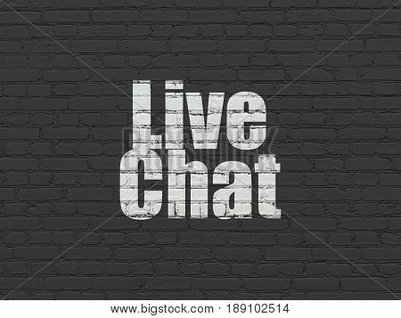 Web design concept: Painted white text Live Chat on Black Brick wall background