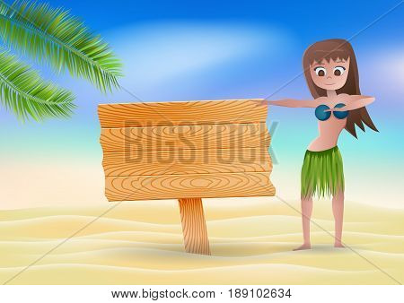 Summer background with a Hawaiian dancer.Vector illustration.