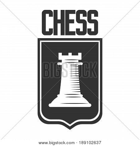 Chess club vector logo template of rook castle chessman on heraldic shield. Isolated badge label or icon for championship or tournament