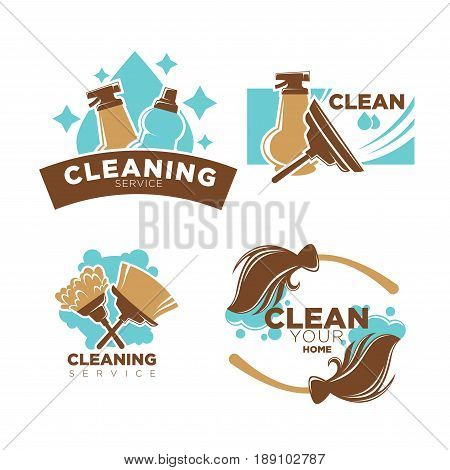 Home cleaning service logo templates set of duster brush, broom or window scraper and detergents or washing liquid bottles and sprayers. Vector flat isolated icons of soap bubbles and water splash