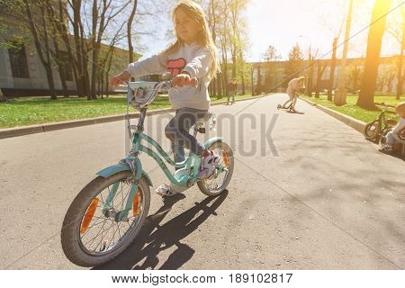 Girl riding on bicycle in park during day