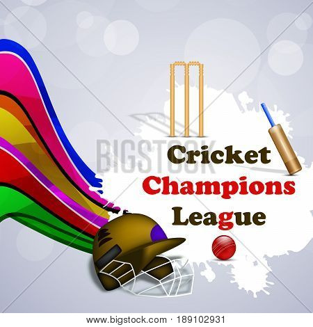 illustration of elements of bat wicket ball and hamlets with cricket champions league text