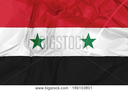 Syria National Arab Republic Flag rippled isolated on white background illustration. used by the Assad government