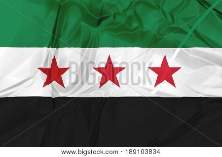 Syria Independence National Coalition Flag, rippled isolated on white background illustration. Used by the Syrian National Coalition and Syrian Interim Government.