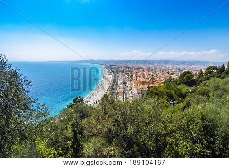 Panoramic Aerial View Of Beach In City Of Nice, French Riviera, France