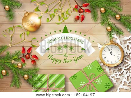 Christmas vector top view background with a clock fir twigs gifts Christmas balls on wooden table