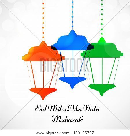 illustration of colorful lamps with Eid Milad Un nabi Mubarak text