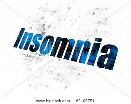 Health concept: Pixelated blue text Insomnia on Digital background