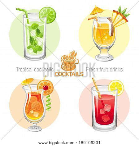 Fresh fruit drink bar logo vector icon set. Flat tropical alcohol cocktail sign menu. Icons isolated on white. Mojito, mai tai, sex on the beach, bloody mary. Banner template. Summer drink concept.