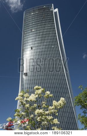 MILAN, ITALY - APRIL 17, 2017: Milan (Lombardy Italy): the skyscraper known as Generali Tower in the new Citylife area (Tre Torri)