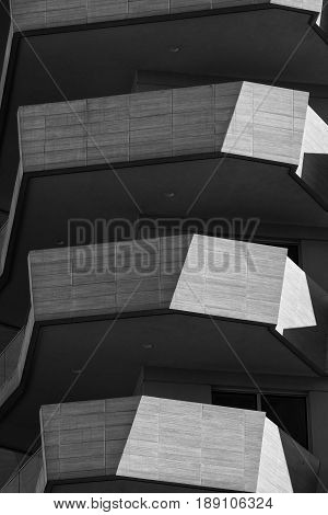 MILAN, ITALY - APRIL 17, 2017: Milan (Lombardy Italy): modern residential buildings in the new Citylife area (Tre Torri). Black and whitre