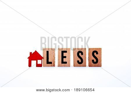 Homeless - block letters with red home / house icon with white background