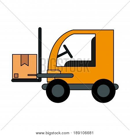 color image cartoon forklift truck with forks transporting package vector illustration