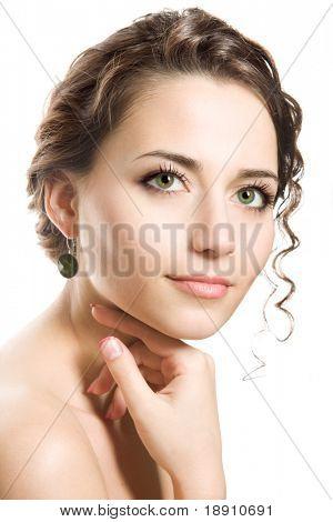 Studio portrait of a beautiful brunette woman