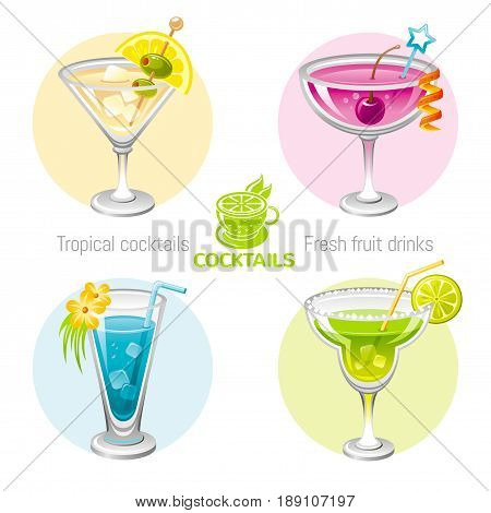 Fresh fruit drink bar logo vector icon set. Flat tropical alcohol cocktail sign menu. Icons isolated on white. Martini, margarita, blue hawaii curacao, Manhatten. Banner template. Summer drink concept