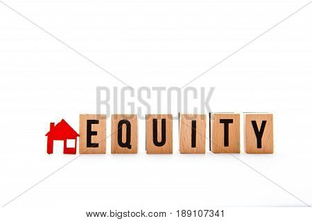 Home Equity - block letters with red home / house icon with white background