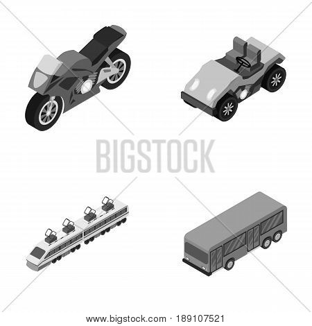 Motorcycle, golf cart, train, bus. Transport set collection icons in monochrome style vector symbol stock illustration .