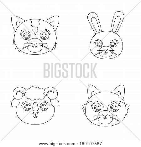 Cat, rabbit, fox, sheep. Animal s muzzle set collection icons in outline style vector symbol stock illustration .