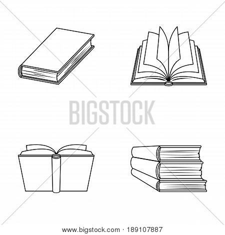 Various kinds of books. Books set collection icons in outline style vector symbol stock illustration .