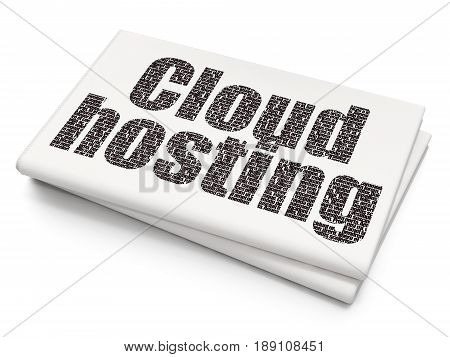 Cloud networking concept: Pixelated black text Cloud Hosting on Blank Newspaper background, 3D rendering