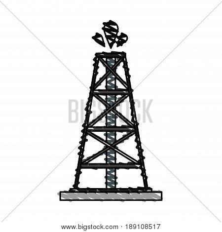 color crayon stripe cartoon oil crude tower vector illustration