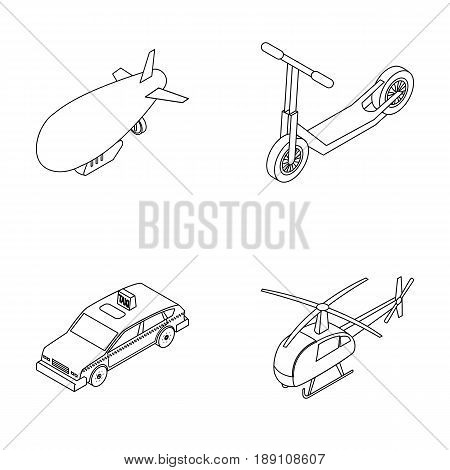 A dirigible, a children s scooter, a taxi, a helicopter.Transport set collection icons in outline style vector symbol stock illustration .