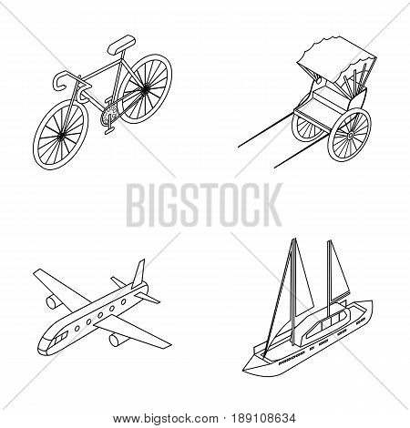 Bicycle, rickshaw, plane, yacht.Transport set collection icons in outline style vector symbol stock illustration .