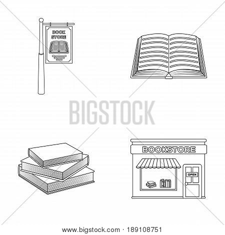 A signboard, a bookstore, a stack of books, an open book. A library and a bookstore set collection icons in outline style vector symbol stock illustration .